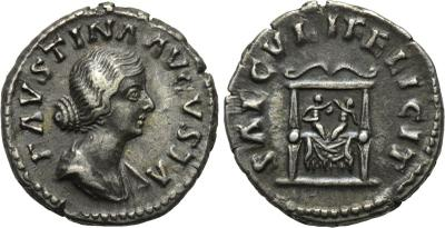 Denario de Faustina II. SAECVLI FELICIT. Reproducion? 1873094.m