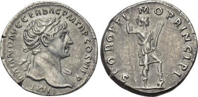 Denario de Trajano. S P Q R OPTIMO PRINCIPI. Virtus 2091928.m
