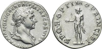Denario de Trajano. SPQR OPTIMO PRINCIPI - Bonus Eventus. Roma. dedicado a mreyna y ajenaton. 2200656.m