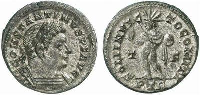 Nummus o follis de Constantino I. SOLI INVICTO COMITI. Trier 1387509.m