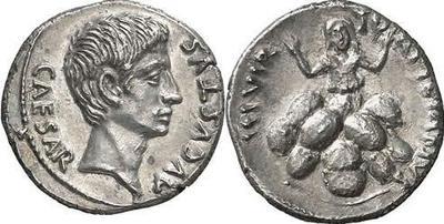 Denario de Augusto. TVRPILIANVS III VIR. Roma 283536.m