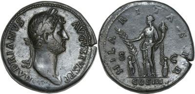 Sestercio de Adriano. HILARITAS P R / SC. Roma 1070051.m
