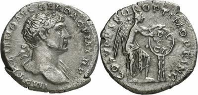 Denario de Trajano. S P Q R OPTIMO PRINCIPI, ceca de Roma. 1004854.m