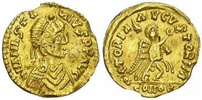 Tremissis imitativo a nombre de Anastasio I 909599.m