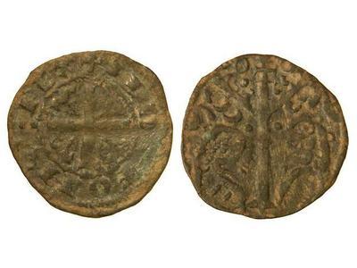 Dinero de Alfonso IX (1188-1230) con marca de ceca roeles 764876.m