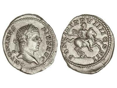 Denario de Caracalla. PONTIF TR P VIIII. COS II.. Roma (Legio dedit) 1567999.m
