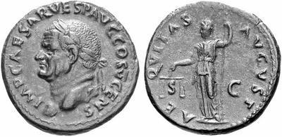 As de Vespasiano. AEQVITAS AVGVST / SC. Roma 167003.m
