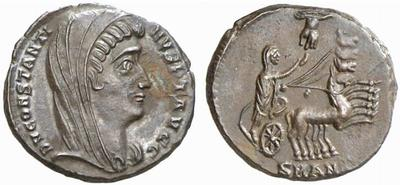 AE4 póstumo de Constantino I con cuádriga en reverso 301975.m