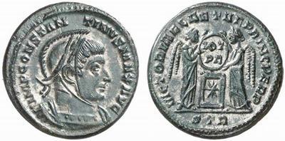 AE3 de Constantino I. VICTORIAE LAETAE PRINC PERP. Trier 338762.m