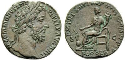 Sestercio de Cómodo. PM TR P XIII IMP VIII COS V PP / FOR RED / SC. Roma 1467648.m