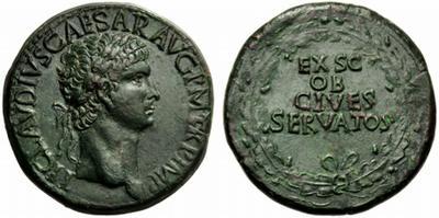 Sestercio de Claudio. EX S C / OB / CIVES / SERVATOS. Roma. 1841888.m