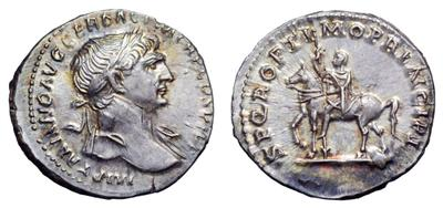 Denario de Trajano. SPQR OPTIMO PRINCIPI - Emperador a caballo. Roma - dedicado a caminoalto 1537936.m
