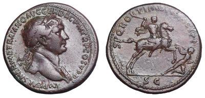 Sestercio de Trajano. S P Q R OPTIMO PRINCIPI / SC - Emperador a caballo. Roma 1702571.m