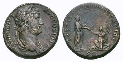 Sestercio de Adriano. RESTITVTORI HISPANIAE / SC. Roma 1780944.m