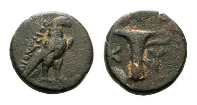 Cuarto de unidad o AE10 de Kyme, Aeolis. 1860166.m