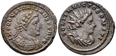 Nummus de Constantino I. SOLI INVICTO COMITI. Sol radiado a derecha. Londres. 2434334.m