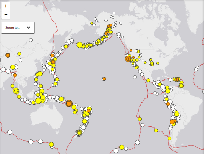 """Enormous Earthquakes Hit Both Sides Of The Pacific And Experts Warn The San Andreas Could """"Unzip All At Once"""" Latest-Earthquakes-Ring-Of-Fire-USGS-Map"""