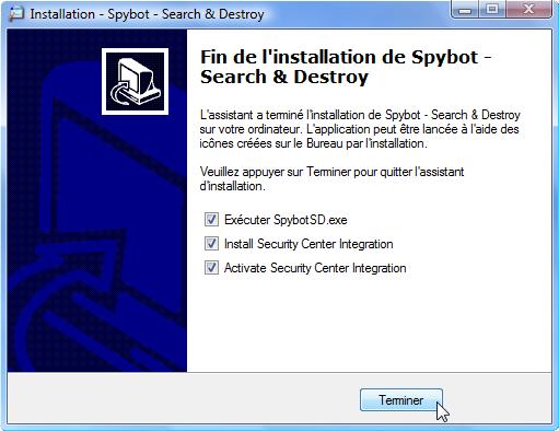 Spybot Search & Destroy Spybot_fin_installation