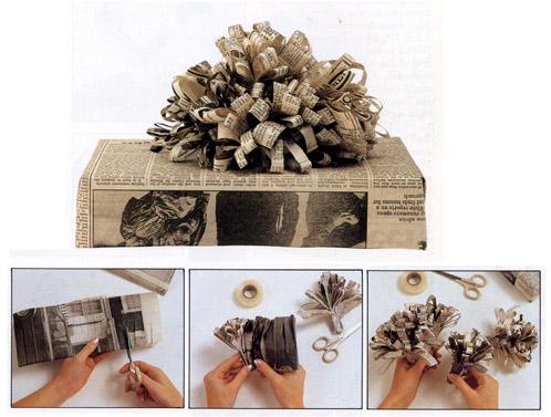 Ideje i načini za zamatanje poklona Newspaper-wrapping