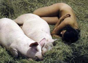 E rrallë! 104 orë nudo me derrat Vajza-derrat