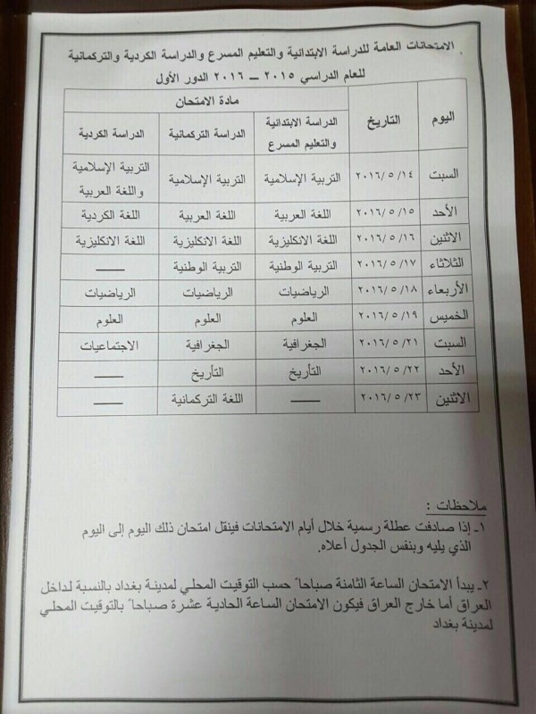 جدول الامتحانات العامة الدور الاول للصفوف المنتهية 2016 - صفحة 12 888-e1460059737264