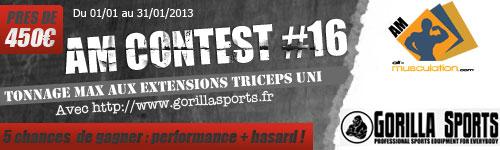 AM concours d'extensions triceps avec GorillaSports Compet-AM-N16