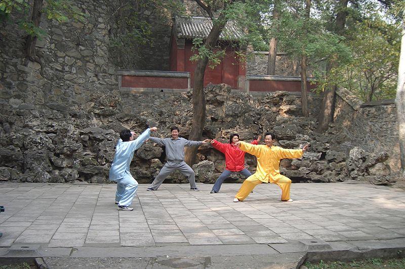 مدينة بكين الصينية Martial-arts-is-a-popular-pastime-in-China.-This-photo-of-a-Chen-style-Taijiquan-class-was-taken-at-Fragrant-Hills-Park-Beijing-China.