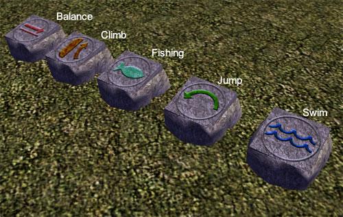 New jump/swim/climb/fish spot markers? Skillstones