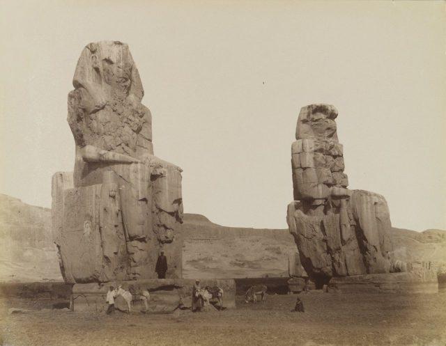 The Magnificent Colossi of Memnon Antonio-Beato-Colosses-de-Memnon-19th-century.-Brooklyn-Museum-640x497