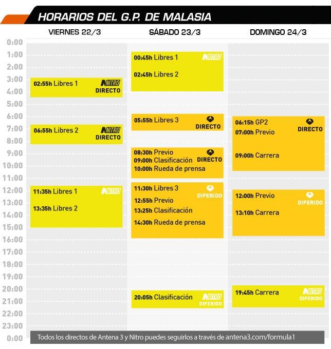 Fernando Alonso, F1  Horarios_gp_2013_malasia