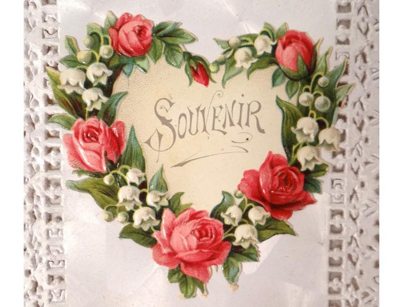 Pour CANTALINE... - Page 6 Cpa-carte-postale-ancienne-cartophile-souvenir-fleurs-coeur-antique-french