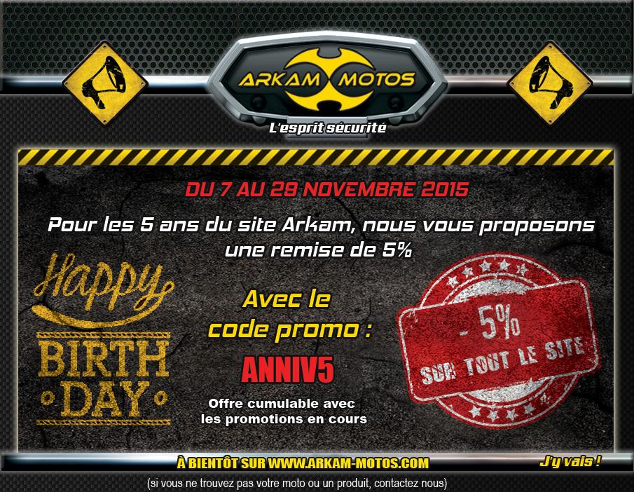 ARKAM MOTOS fête ses 5 ans : Code promo spécial ! NEWSLETTER_ARKAM50