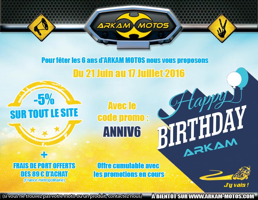 Les 6 ans d'Arkam Motos se fêtent avec un code promo ! :) NEWSLETTER_ETE160