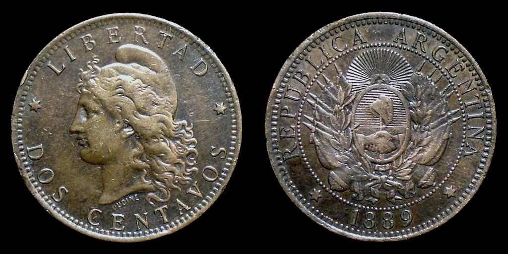 Argentina - 2 Centavos (Patacón) (Buenos Aires, 1889) 2Cen1889