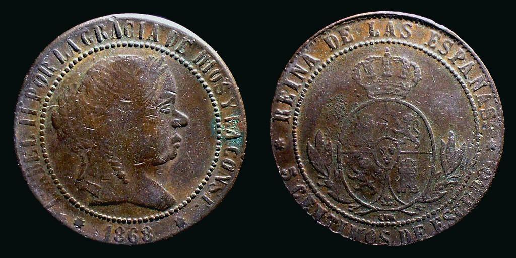 Isabel II, 5 Centimos 1868, Barcelona, Cayón 16783 - un falso de la época? Isab1868