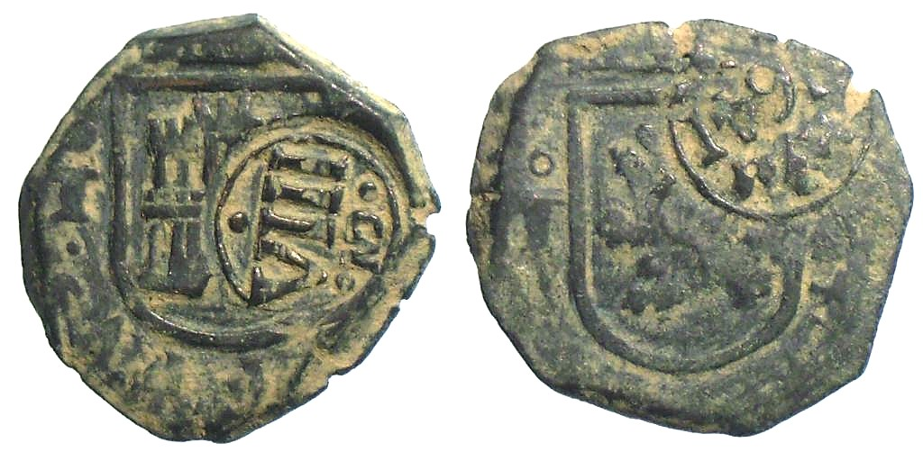 8 Maravedíes de Felipe IV (Segovia, 1621) con resello VIII/1641 Macoq2