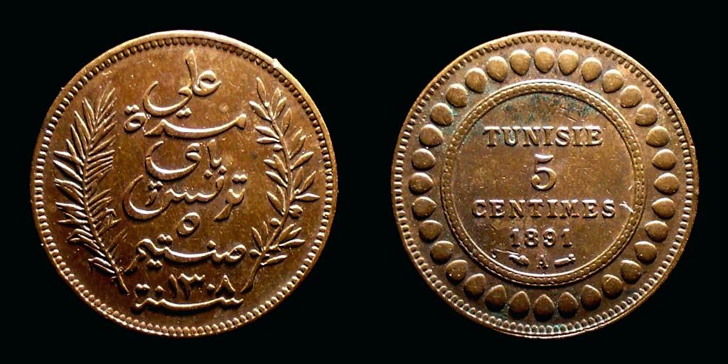 5 Céntimos de Túnez Tun5C1891