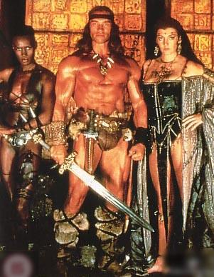 still of deleted love scene from Conan 2 with Sarah Douglas Conancast