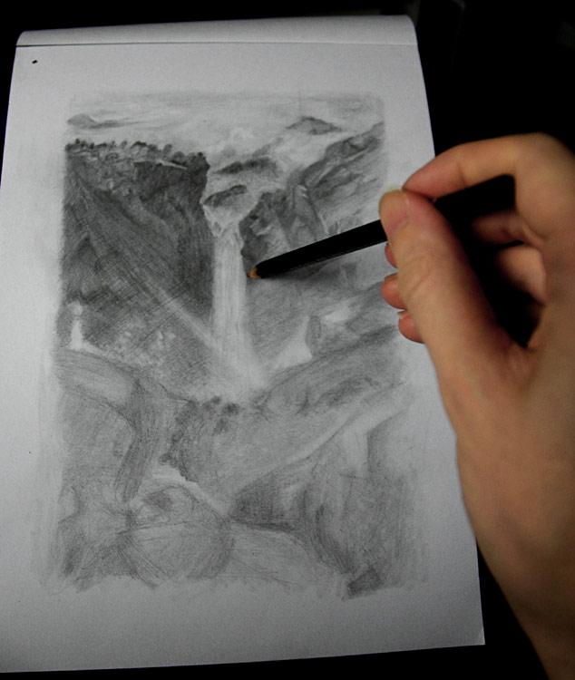 خطوه بخطوه ..... الرسم بالرصاص Art-hatching-rock-face