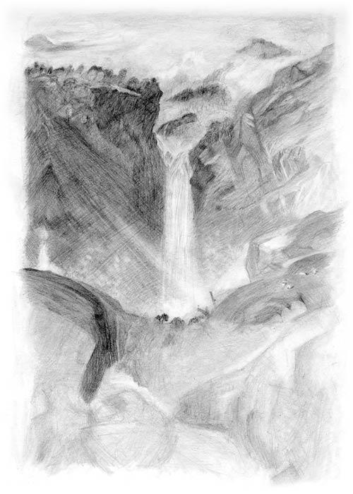خطوه بخطوه ..... الرسم بالرصاص Free-art-lesson-landscape2