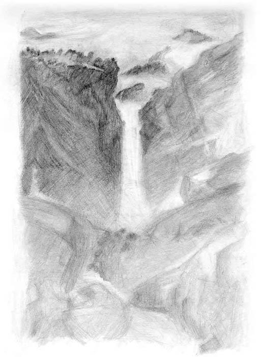 خطوه بخطوه ..... الرسم بالرصاص Rockface-waterfall-art2