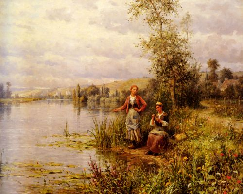 Daniel Ridgway Knight  Country-women-fishing-on-a-summer-afternoon