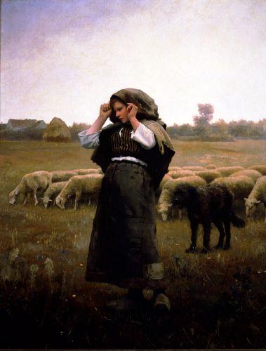 Daniel Ridgway Knight  Shepherdess-and-her-flock