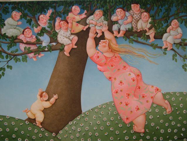 Il fantastico mondo della pittura Ada-breedveld-mamaboom-110x80cm
