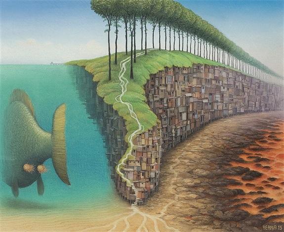 Философия в картинках - Страница 37 Jacek-yerka-the-third-day-of-creation