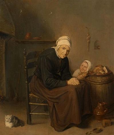 Le désespoir de la vieille - Charles Baudelaire Quiringh-gerritsz-van-brekelenkam-vieille-femme-et-enfant-dans-un-office