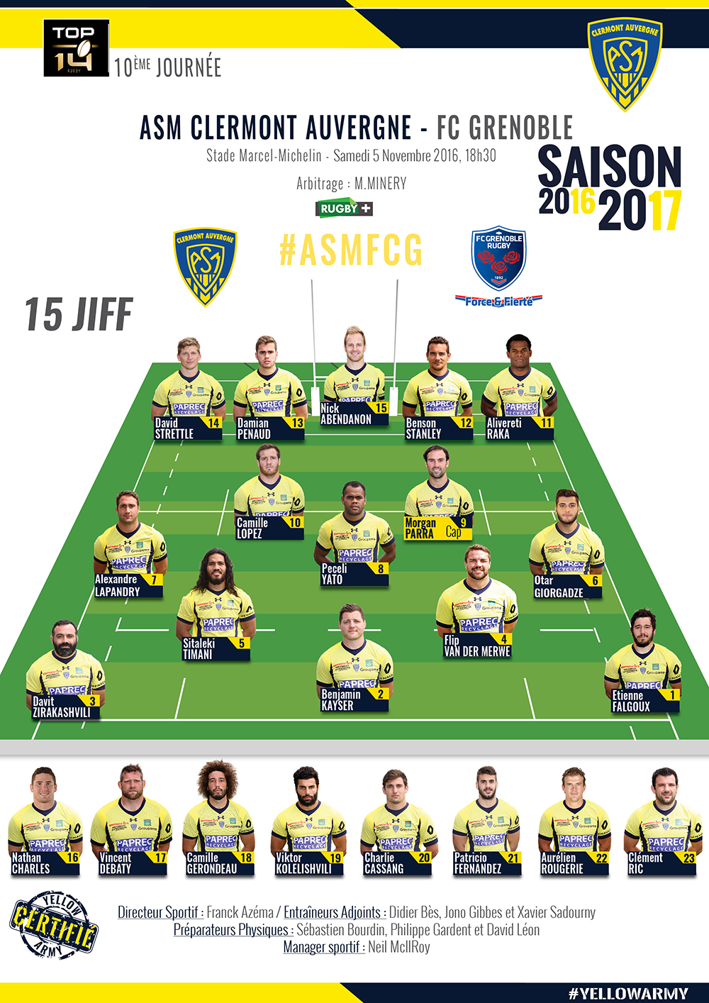 ASM Clermont - Grenoble 161104-compo