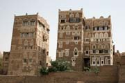 Houses at old quarter of Sana capitol. Yemen.