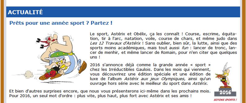 Nouvelle édition d'Astérix aux jeux olympiques F13-5