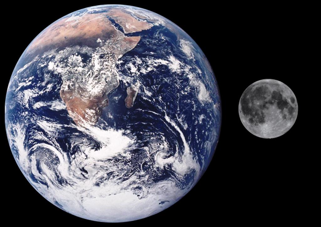 Pourquoi la planete x, Niribu est un hoax ! Terre-lune-comparaison-de-taille